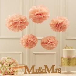 Pom poms mix pastel roze