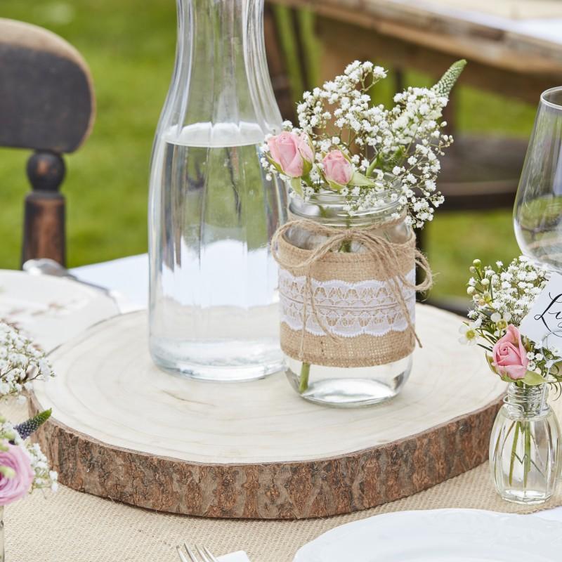 Houten plateau boomschijf for Tafeldecoratie bruiloft
