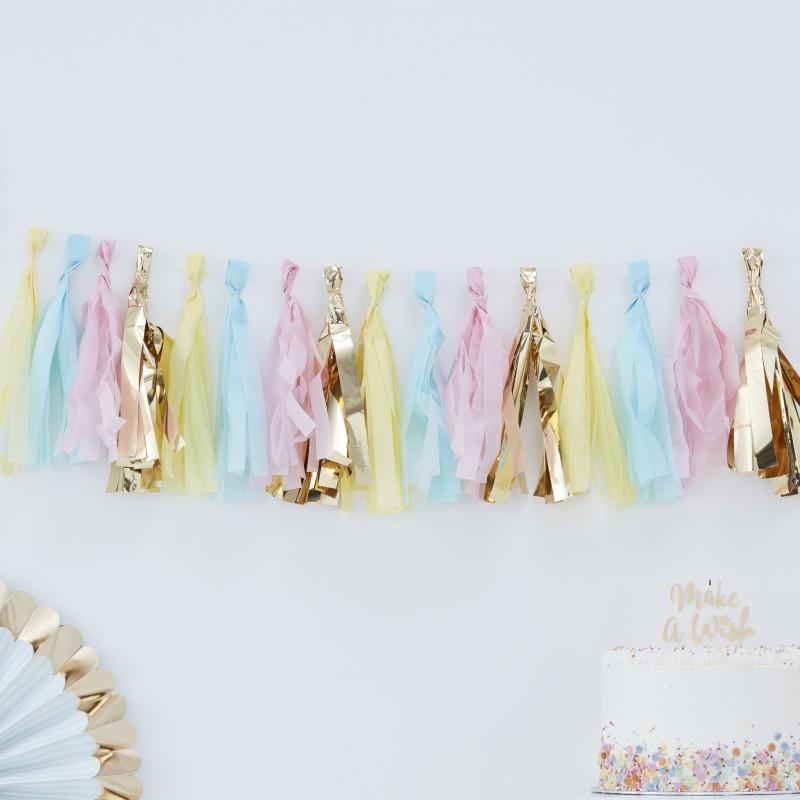 Pastel tassel slinger kit for Feestversiering goud