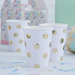Gold Polka Dots papieren bekertjes  8 stuks
