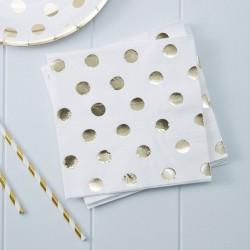 Gold Polka Dots servetten  20 stuks