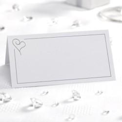 Plaatsnaamkaartje wit zilver  50 stuks