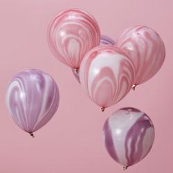 Marble Ballonnen Roze en Paars