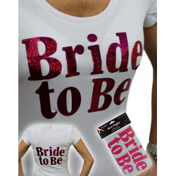 Strijk-sticker glitter roze BRIDE TO BE