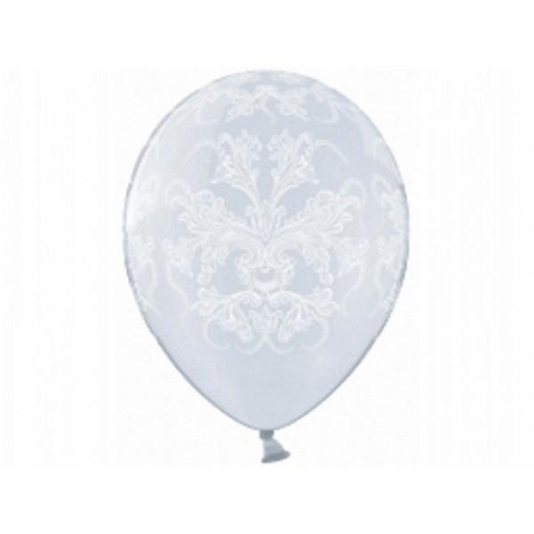 Ballonnen helder met ornament   5 stuks