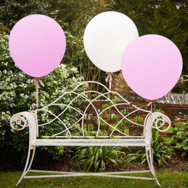 Mega ballonnen lichtroze en wit  3 stuks