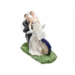 Taarttopper  'bruidspaar op de motor'