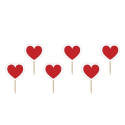 Party prikkers rode hartjes  6 Stuks