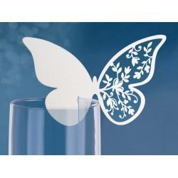 Plaatsnaamkaartjes vlinder op glas  10 Stuks