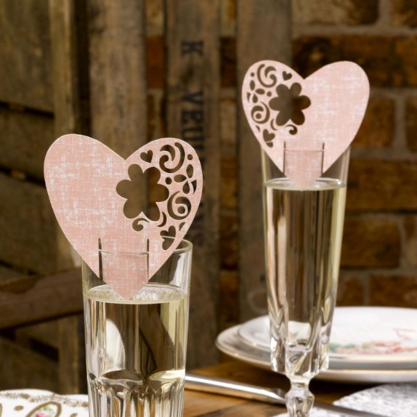 Plaatsnaamkaartjes With Love op glas  10 Stuks