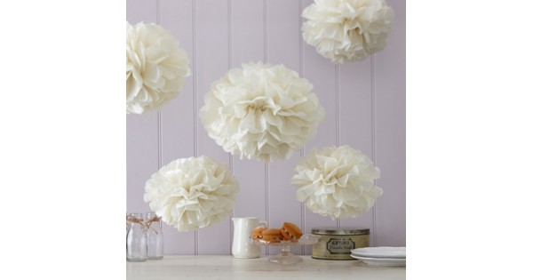 Pom poms mix ivoor for Interieur decoratie online shop
