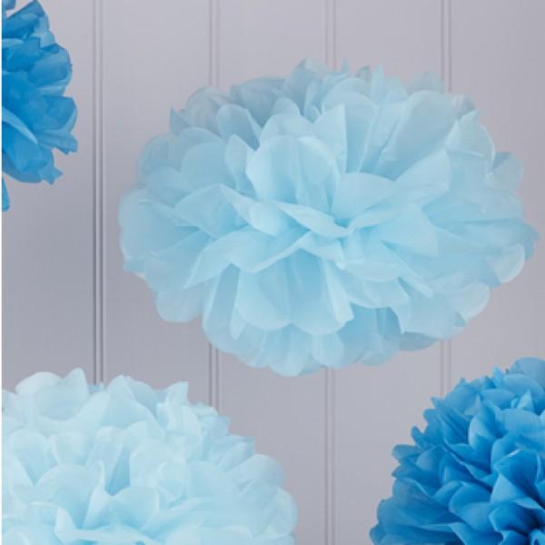 Pom poms mix blauw