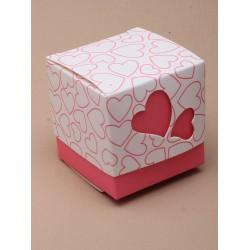 Doosjes met hartmotief roze  10 stuks