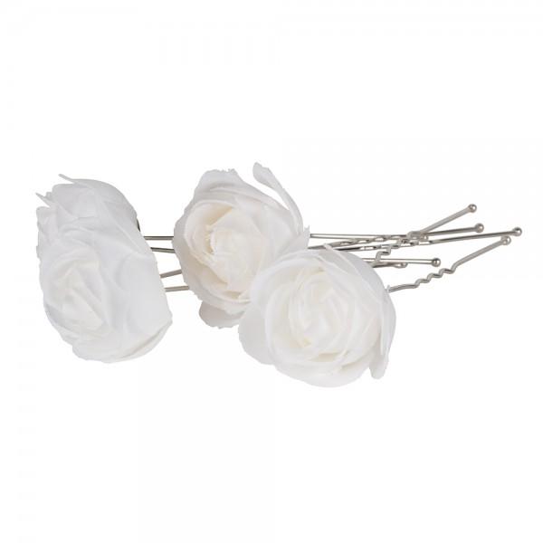 Haarpinnen bloem wit  4 stuks