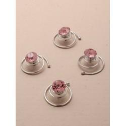 Curlies roze strass-steentjes  4 stuks