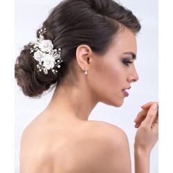 Haardecoratie kristallen bloemetjes en pareltjes