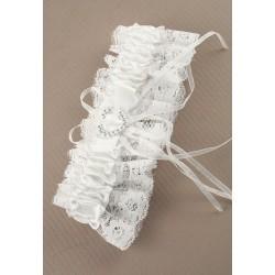 Kousenband wit met hartje