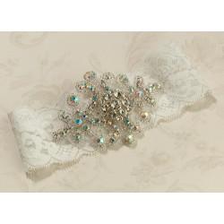Kousenband wit Jeweled