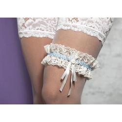 Kousenband ivoor/wit met blauw