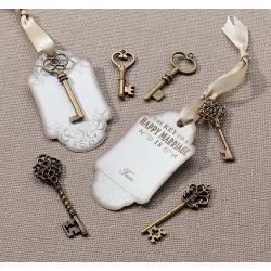 Brons sleutel set met labels  24 stuks