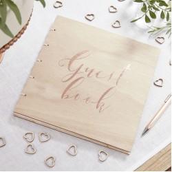 Gastenboek hout rosé goud