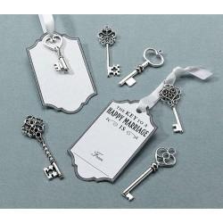 Zilver sleutel set met labels  24 stuks