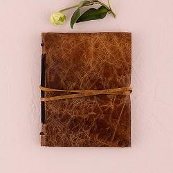 Dagboek / gastenboek bruin leer
