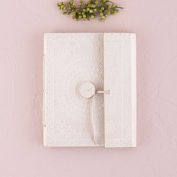 Dagboek / gastenboek wit leer