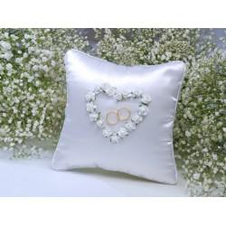 Ringkussen witte roosjes